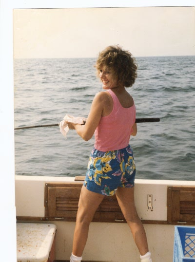 Noreen Daly Carlson on a fishing boat off the coast of New Jersey